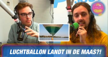 Luchtballon zakt in Maas door wegvallen wind